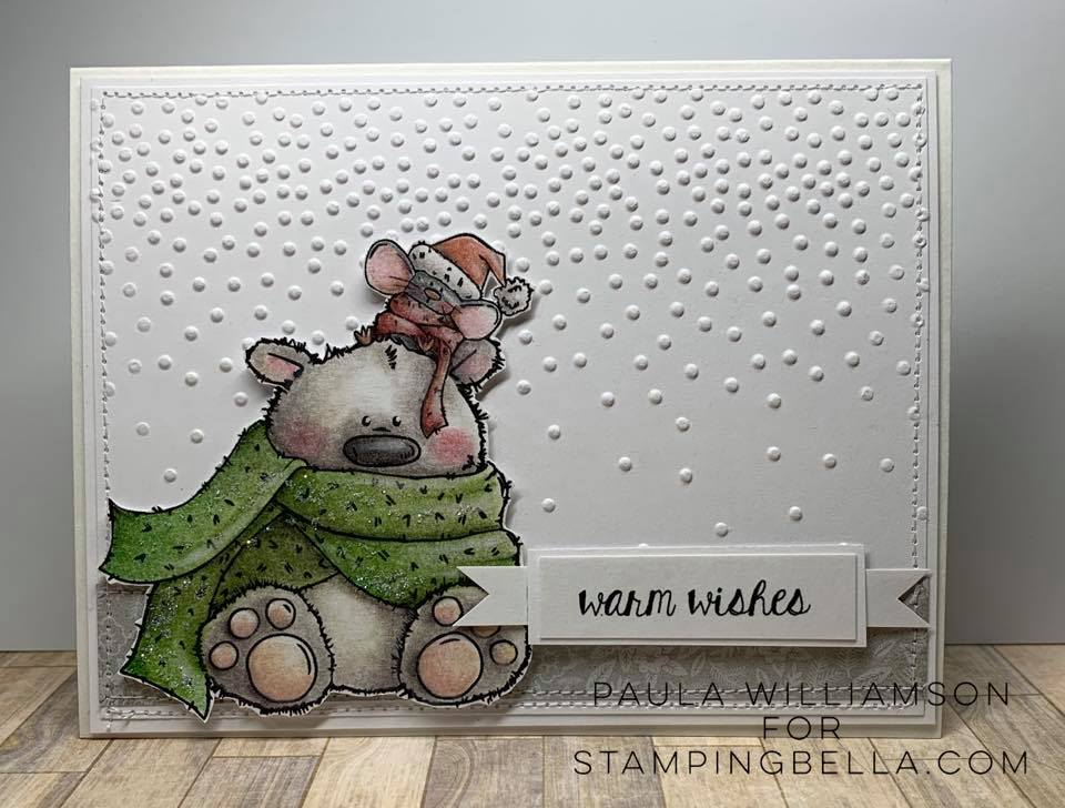 www.stampingbella.com: rubber stamp used: POLAR BEAR AND MOUSIE. card by PAULA WILLIAMSON