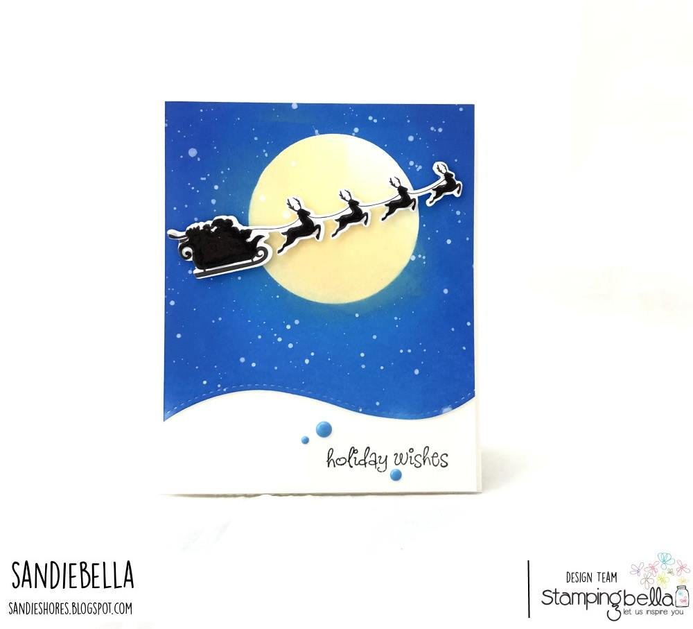 www.stampingbella.com: rubber stamp used: SANTA'S SLEIGH SILHOUETTE. CARD BY SANDIE DUNNE