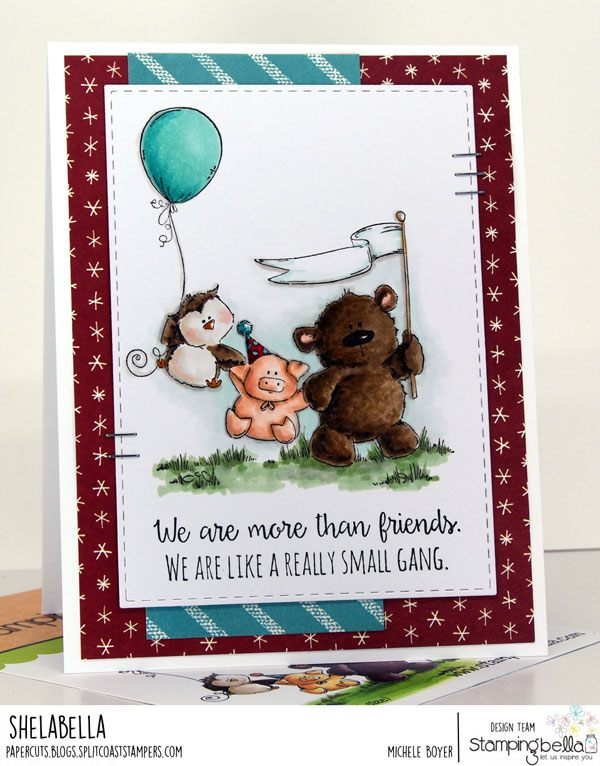 www.stampingbella.com: rubber stamp used: STUFFIE GANG card by MICHELE BOYER