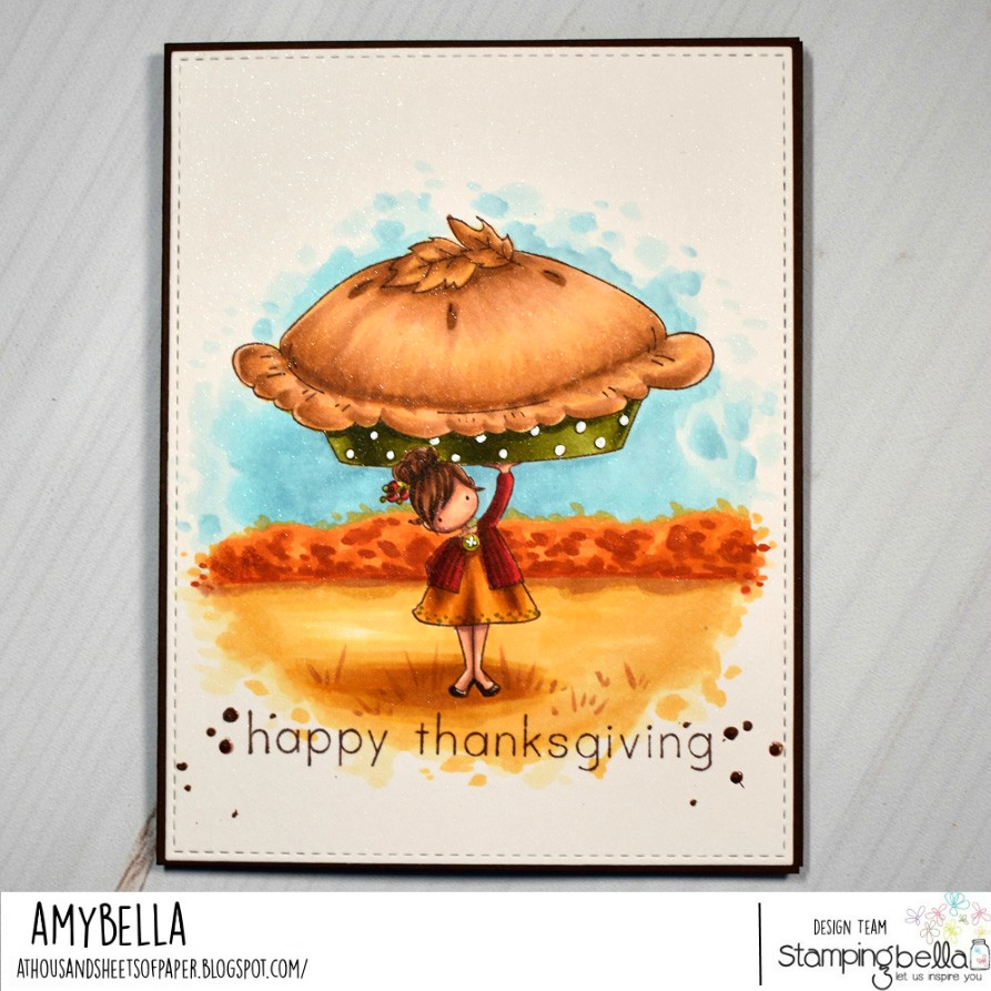 www.stampingbella.com: Rubber stamps used : FALL SENTIMENT SET and TEENY TINY TOWNIE with a PUMPKIN PIE.  Card by AMY YOUNG