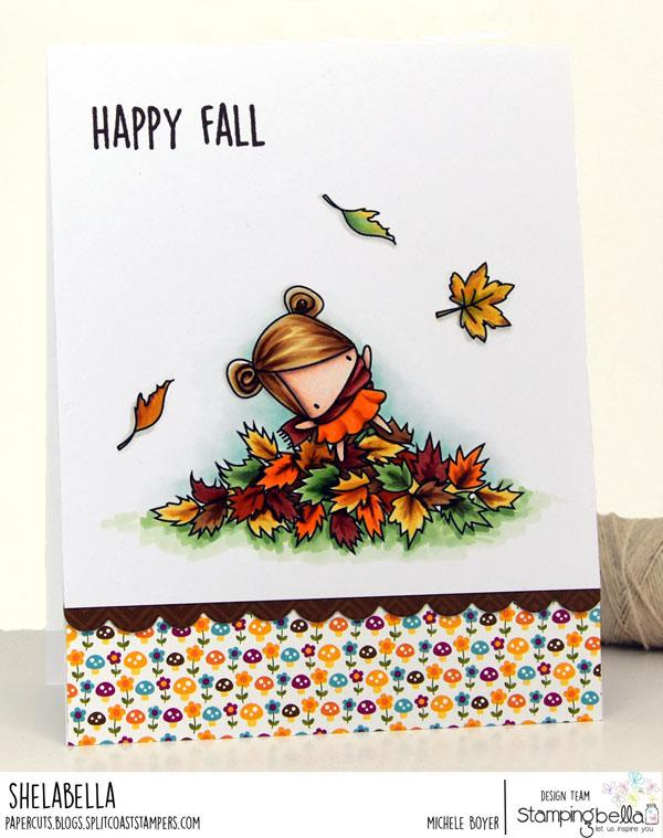 www.stampingbella.com: rubber stamp used: LITTLE BITS PLAYING IN THE LEAVES. CARD BY MICHELE BOYER