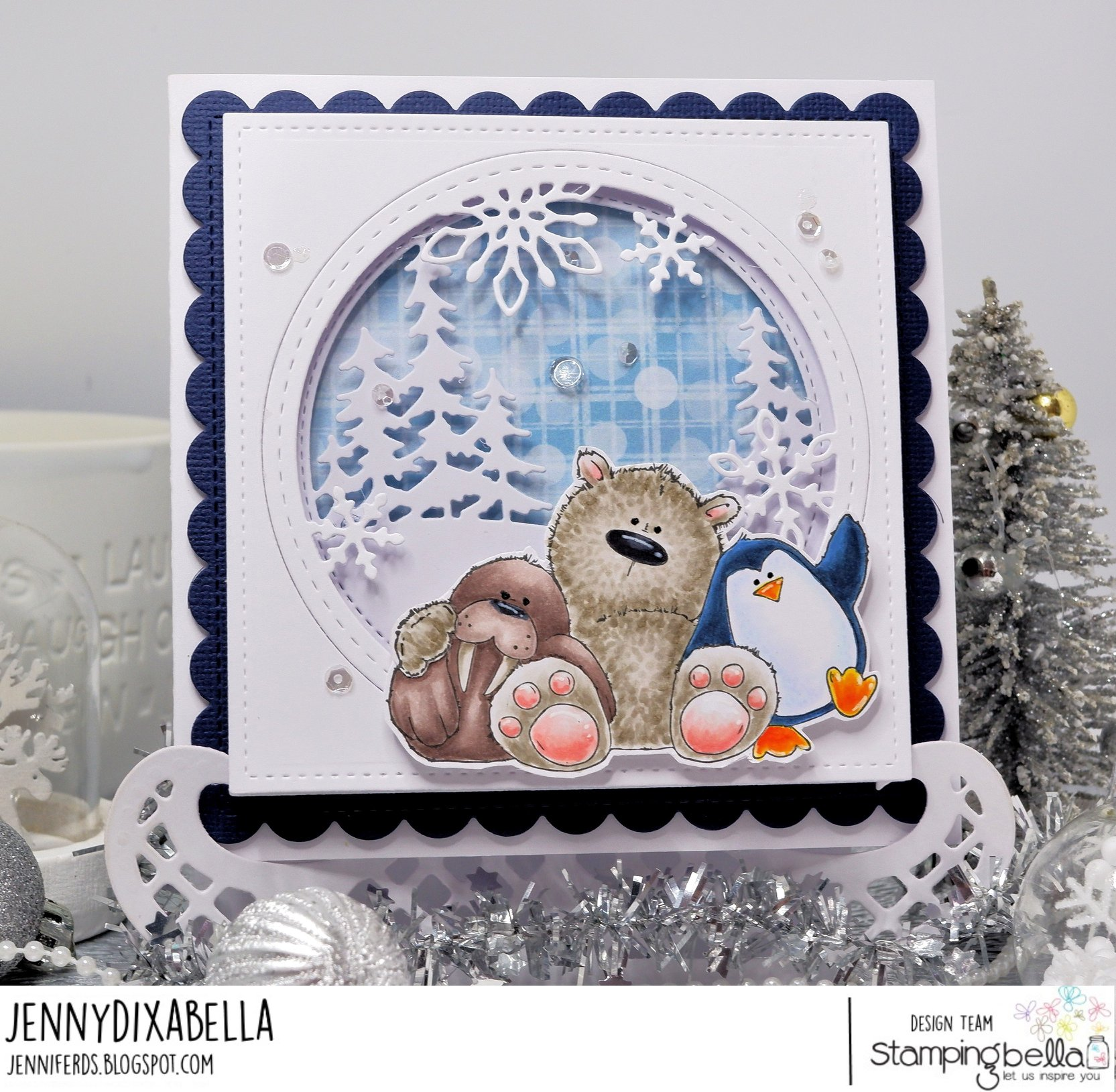 www.stampingbella.com: rubber stamp used: THE WALRUS THE POLAR BEAR and the PENGUIN. card by Jenny Dix