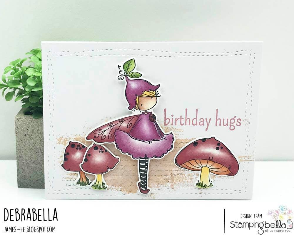 www.stampingbella.com: rubber stamp used: TINY TOWNIE FAIRY GARDEN FAIRY. CARD BY DEBRA JAMES