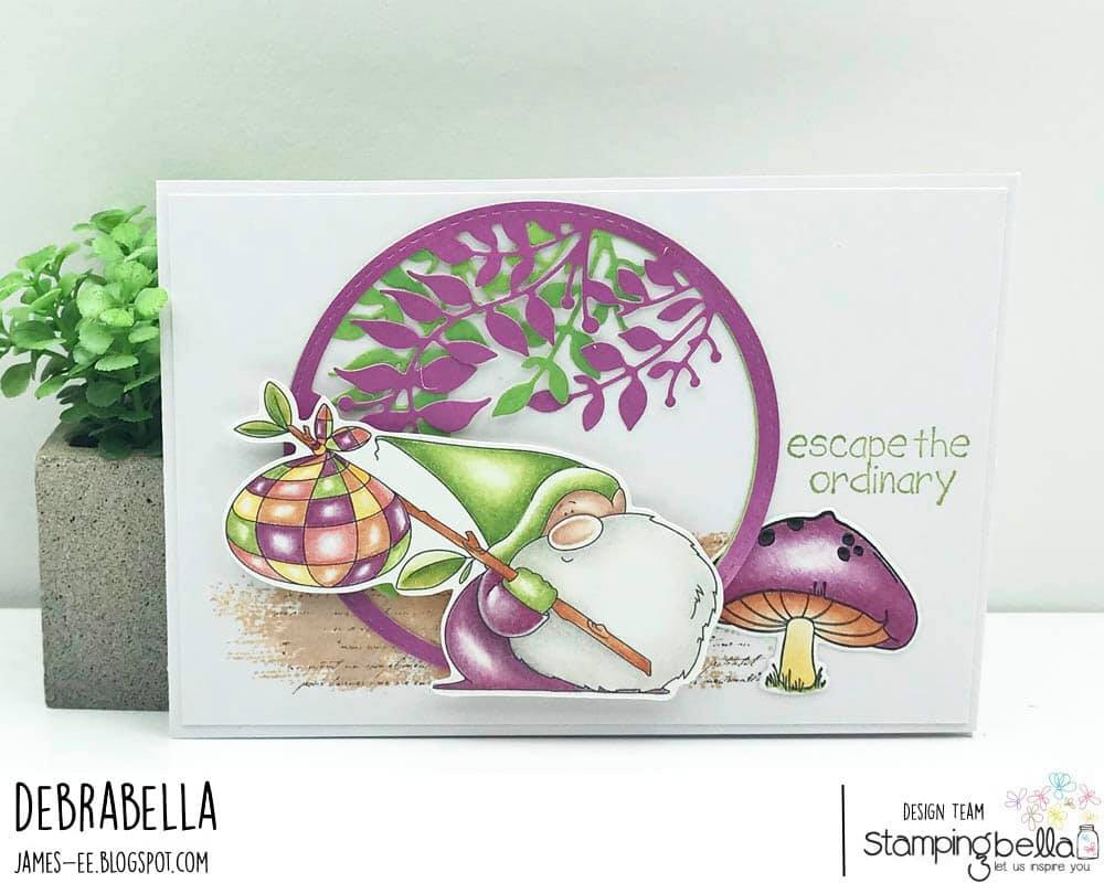 www.stampingbella.com: rubber stamp used: TRAVELING GNOME card by DEBRA JAMES