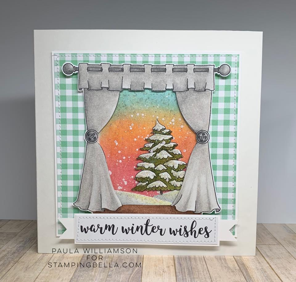 www.stampingbella.com : Rubber stamp used: WINTER WINDOW, card by Paula Williamson