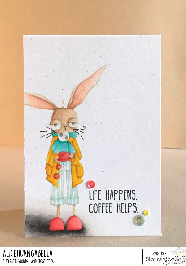 www.stampingbella.com: rubber stamp used ODDBALL MARCH HARE. card by Alice Huang