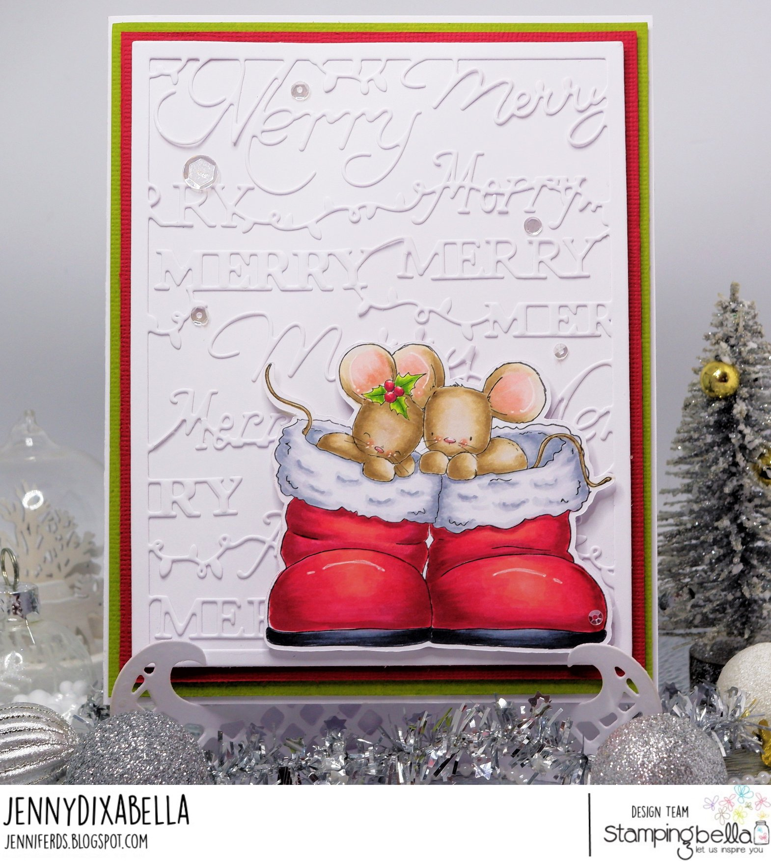 www.stampingbella.com: rubber stamp used: MICE IN BOOTS card by Jenny Dix