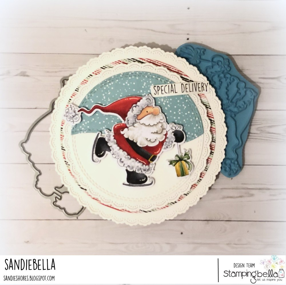www.stampingbella.com: rubber stamp used SANTA'S SPEEDY DELIVERY. card by SANDIE DUNNE