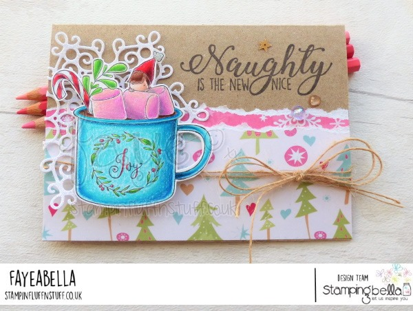www.stampingbella.com: rubber stamp used TEENY TINY TOWNIE WITH A HOT CHOCOLATE. Card by Faye Wynn Jones