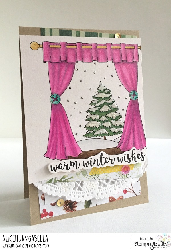 www.stampingbella.com : Rubber stamp used: WINTER WINDOW, card by ALICE HUANG