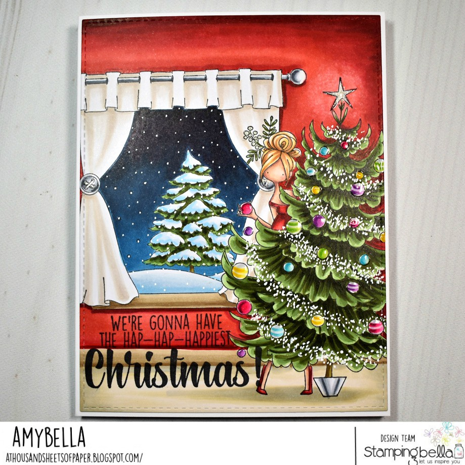 www.stampingbella.com: rubber stamps used WINTER WINDOW, CURVY GIRL and her tree and our HOLIDAY FUN sentiment set.  CARD BY AMY YOUNG