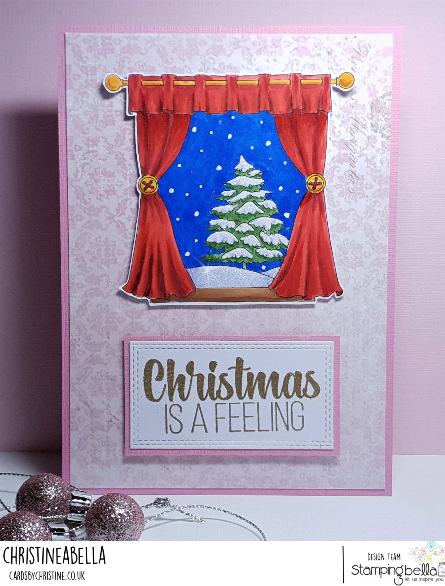 www.stampingbella.com : Rubber stamp used: WINTER WINDOW, card by Christine Levison