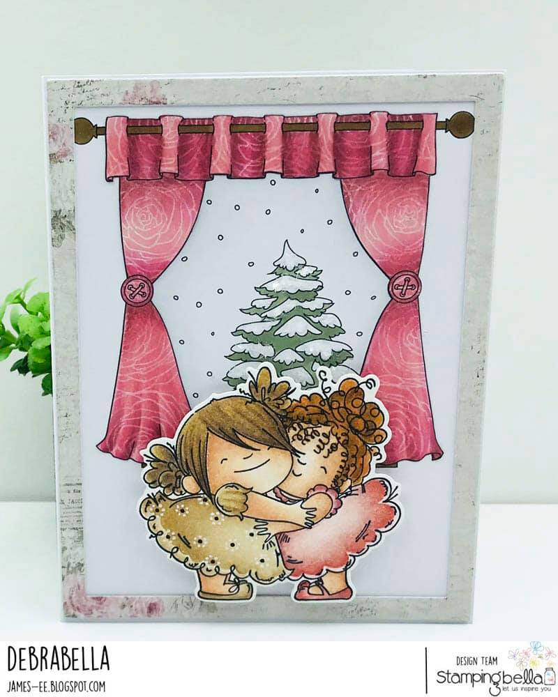 www.stampingbella.com : Rubber stamp used: WINTER WINDOW, card by Debra James