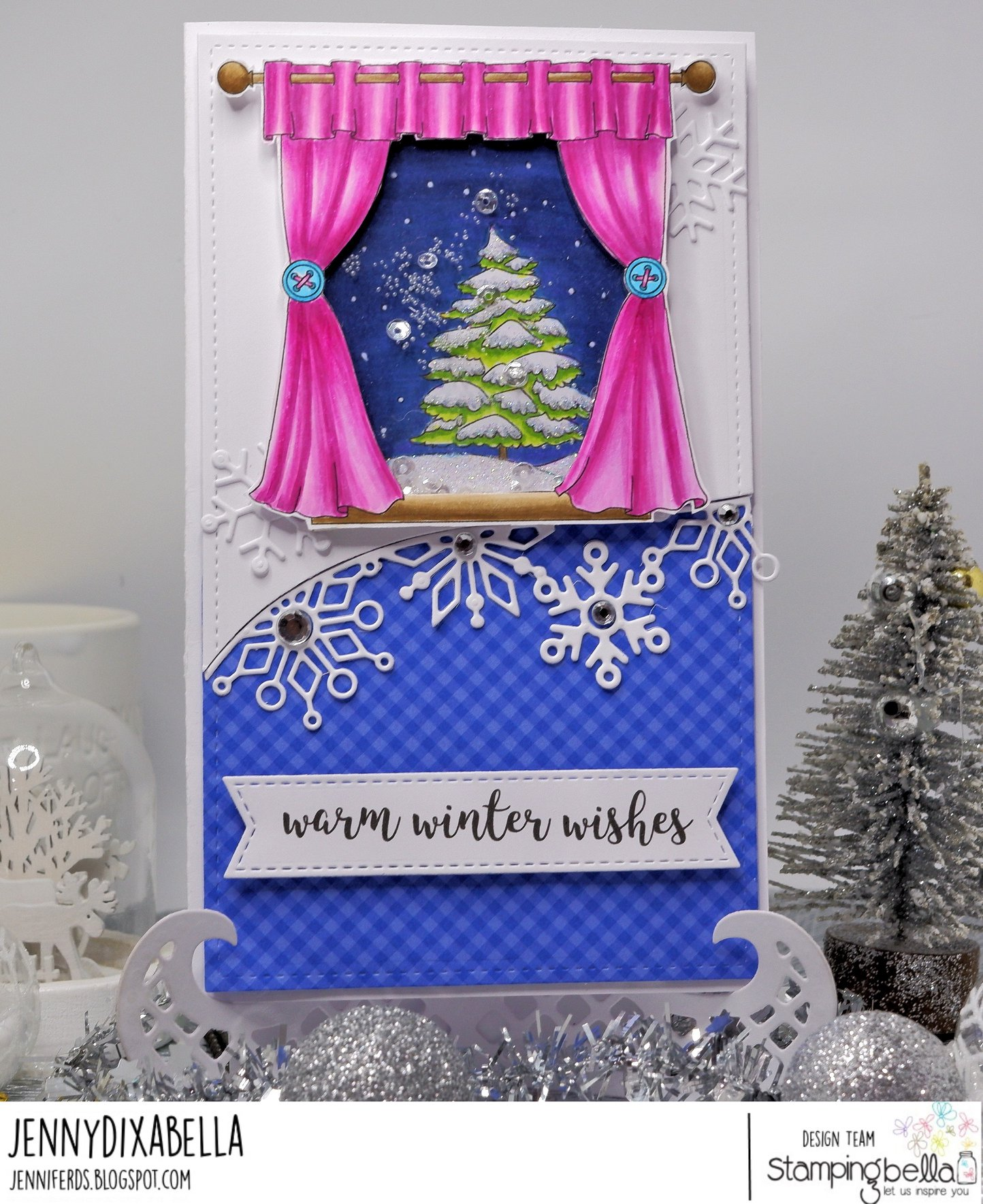 www.stampingbella.com : Rubber stamp used: WINTER WINDOW, card by Jenny Dix