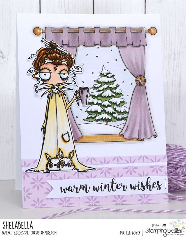 www.stampingbella.com : Rubber stamp used: WINTER WINDOW, card by Michele Boyer
