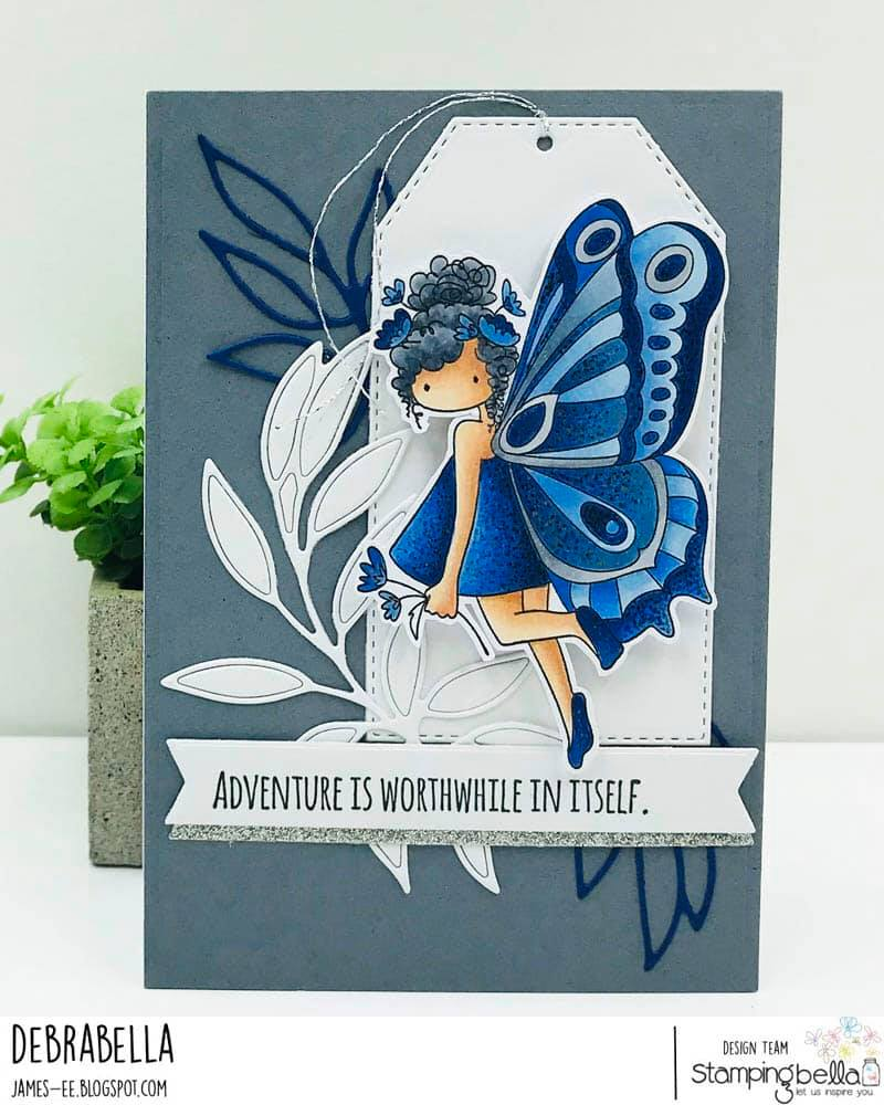 www.stampingbella.com: rubber stamp used TINY TOWNIE BUTTERFLY GIRL BRIANNA. card by DEBRA JAMES