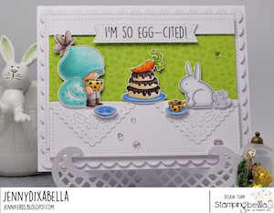 www.stampingbella.com: rubber stamp used BUNDLE GIRL TEA PARTY card by Jenny Dix