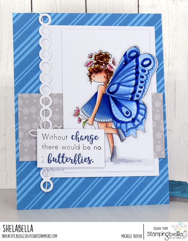 www.stampingbella.com: rubber stamp used TINY TOWNIE BUTTERFLY GIRL BRIANNA. card by Michele Boyer