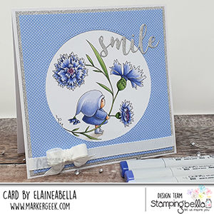 www.stampingbella.com: rubber stamp used: BUNDLE GIRL WITH A CORNFLOWER. Card by Elaine Hughes