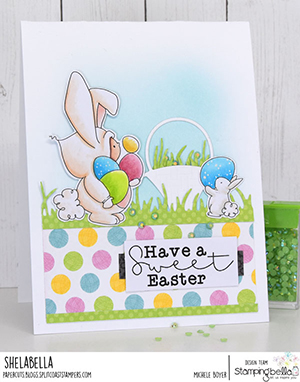 www.stampingbella.com: Rubber stamp used BUNDLE GIRL BUNNY card by Michele Boyer