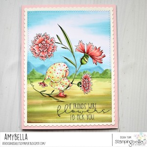 www.stampingbella.com: rubber stamp used: BUNDLE GIRL WITH A CORNFLOWER. Card by Amy Young