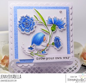www.stampingbella.com: rubber stamp used: BUNDLE GIRL WITH A CORNFLOWER. Card by Jenny Dix