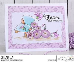 www.stampingbella.com: Rubber stamp used BUNDLE GIRL FLOWER MARCH card by Michele Boyer