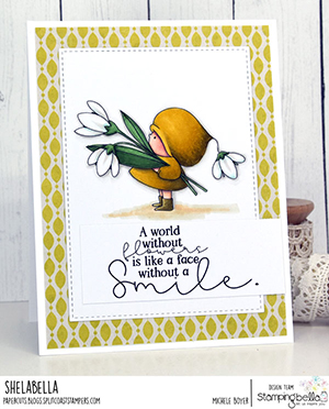 www.stampingbella.com: rubber stamp used BUNDLE GIRL WITH A SNOWDROP card by Michele Boyer