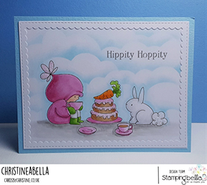 www.stampingbella.com: rubber stamp used BUNDLE GIRL TEA PARTY card by CHRISTINE LEVISON