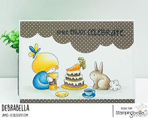 www.stampingbella.com: rubber stamp used BUNDLE GIRL TEA PARTY card by Debra James