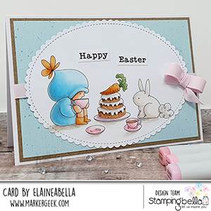 www.stampingbella.com: rubber stamp used BUNDLE GIRL TEA PARTY card by Elaine Hughes