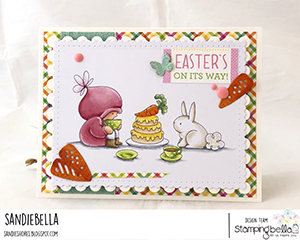 www.stampingbella.com: rubber stamp used BUNDLE GIRL TEA PARTY card by Sandie Dunne