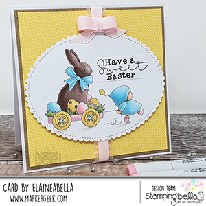 www.stampingbella.com: rubber stamp used BUNDLE GIRL with a CHOCOLATE BUNNY. card by Elaine Hughes