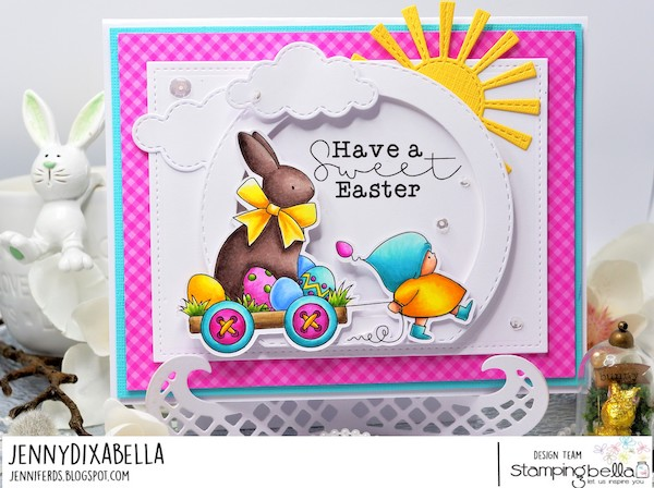 www.stampingbella.com: rubber stamp used BUNDLE GIRL with a CHOCOLATE BUNNY. card by Jenny Dix