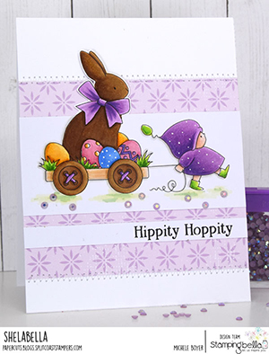 www.stampingbella.com: rubber stamp used BUNDLE GIRL with a CHOCOLATE BUNNY. card by Michele Boyer