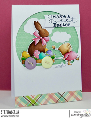 www.stampingbella.com: rubber stamp used BUNDLE GIRL with a CHOCOLATE BUNNY. card by Stephanie Hill