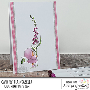 www.stampingbella.com: rubber stamp used BUNDLE GIRL with a FOXGLOVE. card by Elaine Hughes