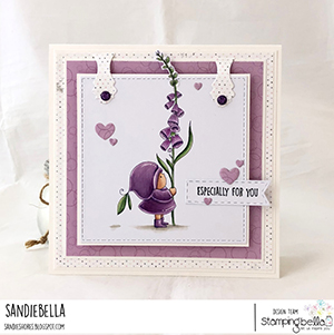 www.stampingbella.com: rubber stamp used BUNDLE GIRL with a FOXGLOVE. card by Sandie Dunne