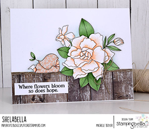 www.stampingbella.com: rubber stamp used Bundle girl with a GARDENIA.. card by Michele Boyer