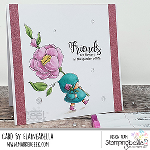 www.stampingbella.com: rubber stamp used BUNDLE GIRL with a ROSE card by Elaine Hughes