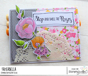 www.stampingbella.com: rubber stamp used BUNDLE GIRL with a ROSE card by Faye Wynn Jones