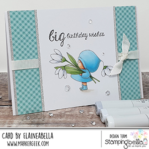 www.stampingbella.com: rubber stamp used BUNDLE GIRL WITH A SNOWDROP card by Elaine Hughes