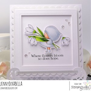 www.stampingbella.com: rubber stamp used BUNDLE GIRL WITH A SNOWDROP card by Jenny DIX