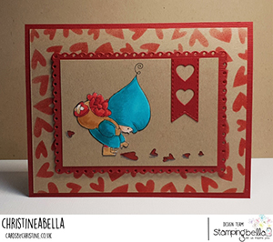 www.stampingbella.com: rubber stamp used BUNDLE GIRL WITH A HEART TRAIL. card by CHRISTINE LEVISON