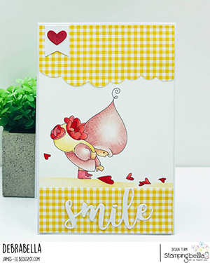 www.stampingbella.com: rubber stamp used BUNDLE GIRL WITH A HEART TRAIL. card by Debra James