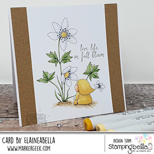 www.stampingbella.com: rubber stamp used BUNDLE GIRL WITH A WOOD ANEMONE. card by Elaine Hughes