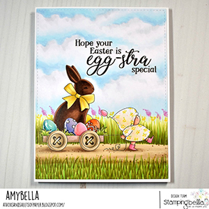 www.stampingbella.com: rubber stamp used BUNDLE GIRL with a CHOCOLATE BUNNY. card by Amy Young