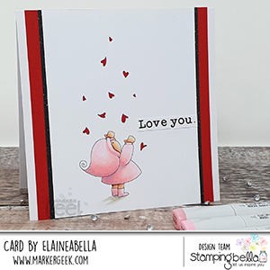 www.stampingbella.com: rubber stamp used BUNDLE GIRL WITH FALLING HEARTS. card by Elaine Hughes