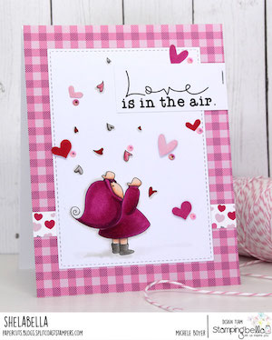 www.stampingbella.com: rubber stamp used BUNDLE GIRL WITH FALLING HEARTS. card by Michele Boyer