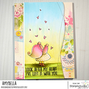 www.stampingbella.com: rubber stamp used BUNDLE GIRL WITH FALLING HEARTS. card by AMY YOUNG